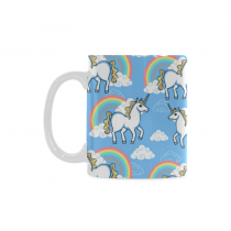 InterestPrint 11 Ounce Ceramic Blue Cartoon Doodle Clouds Rainbow Funny Unicorn Travel Coffee Mug Cup Kids with Quotes Sayings, Unique Christmas Birthday Gifts for Men Women Mom Dad Him Her