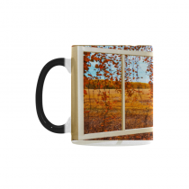 InterestPrint 11oz Open Window with the Fall Leaves Morphing Mug Travel Heat Sensitive Color Changing Coffee Mug Cup with Quotes, Unique Funny Birthday Christmas Gifts for Men Women Him Her Mom Dad