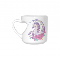 InterestPrint White Ceramic Unicorn Horse Animal Rose Flower Heart-shaped Travel Coffee Mug Cup with Sayings, Best Friends Friendship Mom Funny Unique Birthday Thanksgiving Gifts