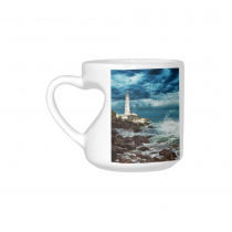 InterestPrint White Ceramic Ocean Wave with Stormy Sky over Lighthouse Heart-shaped Coffee Travel Mug Cup with Sayings, Best Friends Friendship Mom Funny Unique Birthday Thanksgiving Gifts