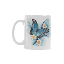 InterestPrint 11 Ounce Ceramic Watercolor Blue Butterfly on Blossom Plum Tree Branch Funny Travel Coffee Mug Cup Large with Quotes Sayings, Unique Birthday Gifts for Men Women Mom Dad Him Her