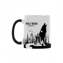 InterestPrint 11oz Howling Wolf Double Exposure with Moon and Forest Heat Sensitive Mug Color Changing Mug Morphing Coffee Travel Mug Tea Cup Funny, 11oz Ceramic Mug