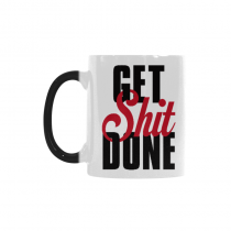 InterestPrint Motivational Quote Get Shit Done Heat Sensitive Mug Color Changing Mug Morphing Coffee Travel Mug Tea Cup Funny with Sayings Quotes, 11oz Ceramic Mug