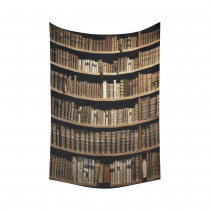 InterestPrint Educational Wall Art Home Decor, Old Library Books Bookshelf Cotton Linen Tapestry Wall Hanging Art Sets