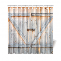 InterestPrint Fabric Shower Curtain Country Decor, Old Wooden Garage Door American Style Decorations Shower Curtain