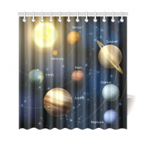 InterestPrint Art Decor Collection, Solar System Outer Space Shower Curtain