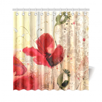 InterestPrint Red Poppy Flower Beige Floral Fabric Shower Curtain