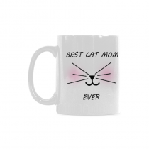 InterestPrint Funny Cat Gifts Best Cat Mom Ever Cat Lovers Cat Memes Gift Coffee Mug Tea Cup Classical White Mug(11 OZ)