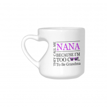 InterestPrint Mother's Day Gift for Nana Too Cool to Be a Grandma Sunglasses Gift Coffee Mug Tea Cup White Heart-shaped Mug(10.3 OZ)