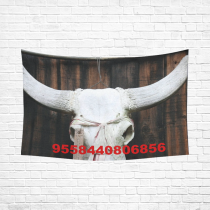 Custom Home Decor Wall Art Cow Skull Cotton Linen Hanging Wall Tapestry 90 x 60