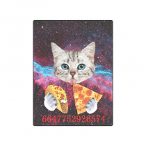 your-fantasia Space Nebula Universe Cat Eat Pizza Unique Throw Bed Sofa Blanket 50 x 60 inches