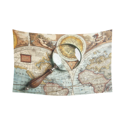 InterestPrint Vintage World Map Home Decor Wall Art, Magnifying Glass and Ancient Old Map Cotton Linen Tapestry Wall Hanging Art Sets