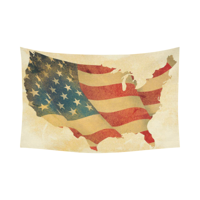 InterestPrint Vintage Grunge USA Map Home Decor Wall Art, American Flag Cotton Linen Tapestry Wall Hanging Art Sets