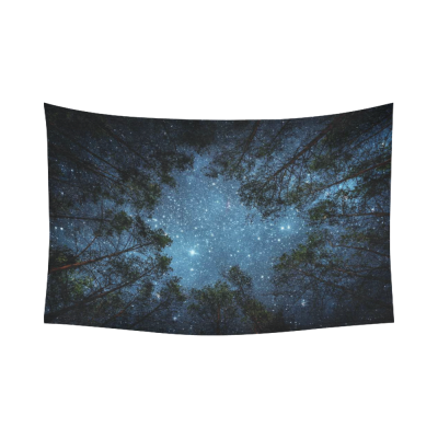 InterestPrint Beautiful Night Sky Wall Art Home Decor, the Milky Way and the Trees Cotton Linen Tapestry Wall Hanging Art Sets