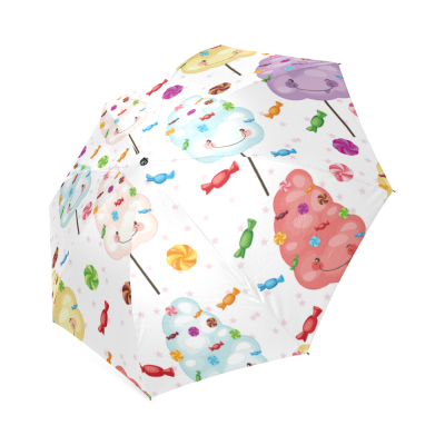 InterestPrint Cotton Candy Lollipop Emojis Foldable Travel Rain Umbrella
