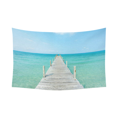 InterestPrint Summer Beach Wall Art Home Decor, Wooden bridge to Ocean Waves in Sunny Day Cotton Linen Tapestry Wall Hanging Art Sets