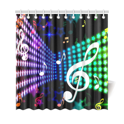 InterestPrint Musician Gifts Home Decor, Music Note Polyester Fabric Shower Curtain Bathroom Sets