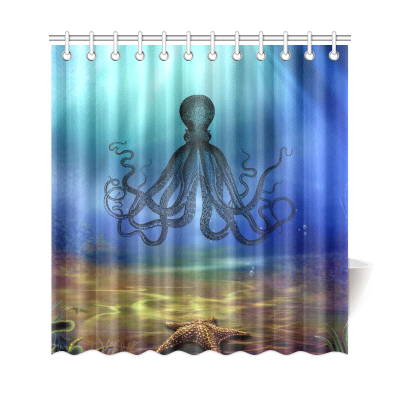 InterestPrint Underwater World Home Decor, Sea Monster Natical Octopus Steampunk Polyester Fabric Shower Curtain Bathroom Sets