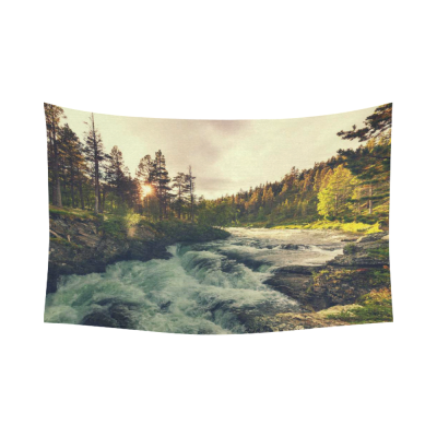 InterestPrint Woodland Nature Wall Art Home Decor, River in Norway Cotton Linen Tapestry Wall Hanging Art Sets