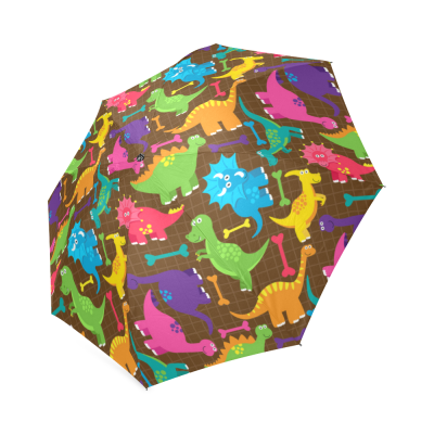 InterestPrint Cartoon Colorful Dinosaur Boon Plaid Foldable Travel Rain Umbrella