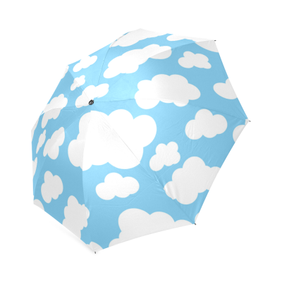 InterestPrint Blue Sky Cute Clouds Foldable Travel Rain Umbrella windproof For Kids