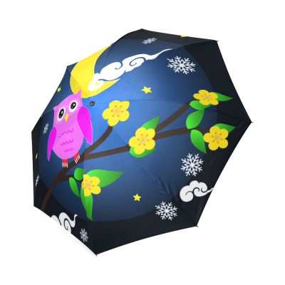 InterestPrint Thanksgiving Cute Owl Girl Foldable Travel Rain Umbrella
