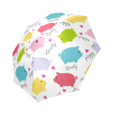 InterestPrint Colorful Lovely Pig Piggy Foldable Travel Rain Umbrella