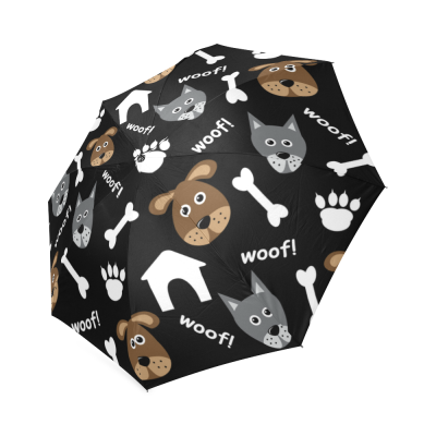 InterestPrint Wolf Skull Dog Animal Paw Print Foldable Travel Rain Umbrella