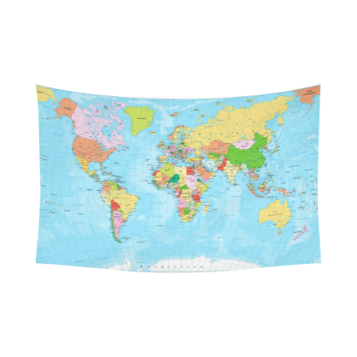 InterestPrint Detailed Political Global World Map Tapestry Horizontal Wall Hanging Map of The World Wall Decor Art for Living Room Bedroom Dorm Cotton Linen Decoration