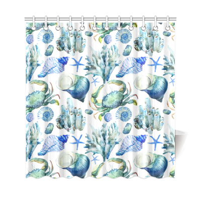 InterestPrint Sea Ocean Home Decor, Watercolor Seashell Coral Crab Polyester Fabric Shower Curtain Bathroom Sets