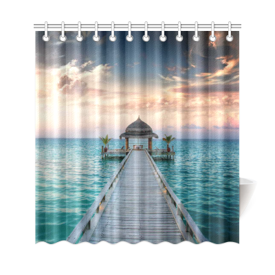 InterestPrint Wooden Bridge Home Decor,Sunset Island Tropical Sea Ocean Polyester Fabric Shower Curtain Bathroom Sets