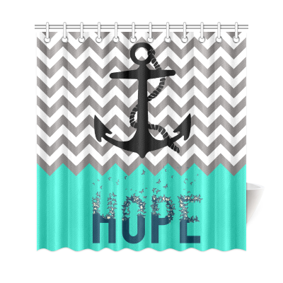 InterestPrint Nautical Sea Anchor Home Decor, Cheveron Stripes Grey White Mint Green Anchor Hope Polyester Fabric Shower Curtain Bathroom Sets
