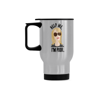 InterestPrint Custom Cartoon Help Me I'm Im Poor Quotes 14oz Funny Silver Stainless Steel Travel Water Coffee Mug Cup, Unique Birthday Gift for Men Women Mom Dad Husband Wife Boy Girl Friends Him Her