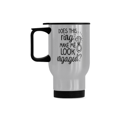 InterestPrint Custom Does This Ring Make Me Look Engaged Quotes 14oz Funny Silver Stainless Steel Travel Water Coffee Mug Cup Bottle, Unique Birthday Gift for Men Women Mom Dad Husband Wife