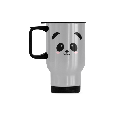 InterestPrint Custom Cute Panda Face Quotes 14oz Funny Silver Stainless Steel Travel Water Coffee Mug Cup, Unique Birthday Gift for Men Women Mom Dad Husband Wife Boy Girl Friends Him Her