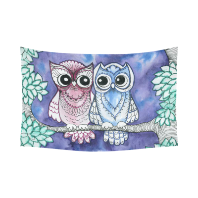 InterestPrint Animal Wall Art Home Decor, Cute Owls on Tree Cotton Linen Tapestry Wall Hanging Art Sets