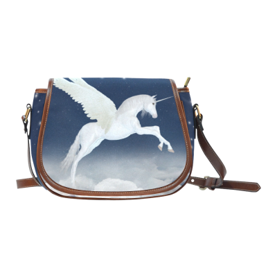 InterestPrint Unicorn in the Sky Waterproof Fabric Messenger Saddle Bag Purse