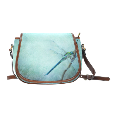 InterestPrint Retro Dragonfly Blue Waterproof Fabric Messenger Saddle Bag Purse