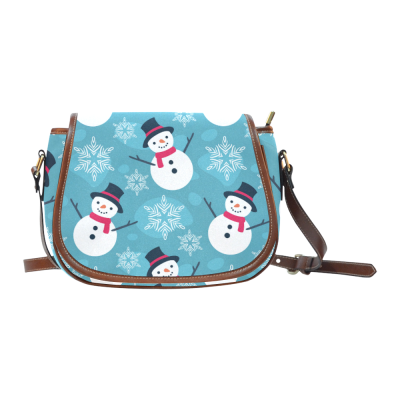 InterestPrint Snowman Snowflake Christmas Blue Women's Messenger Saddle Bag Purse