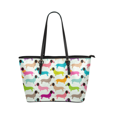 InterestPrint Colorful Dachshund Puppy Dog Women's PU Leather Shoulder Tote Bag Purse