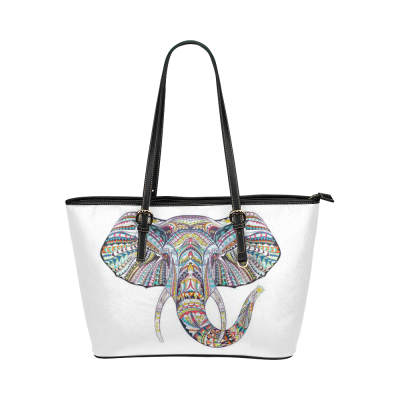 InterestPrint White Ethnic Elephant Women's PU Leather Shoulder Tote Bag Purse