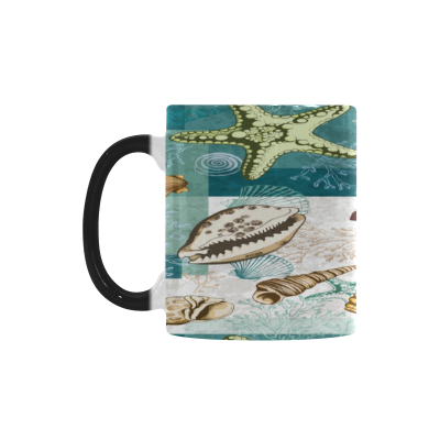 InterestPrint 11oz Colorful Sea Shell Coral and Starfish Morphing Mug Heat Sensitive Color Changing Coffee Mug Cup with Quotes, Unique Funny Birthday Christmas Gifts for Men Women Him Her Mom Dad