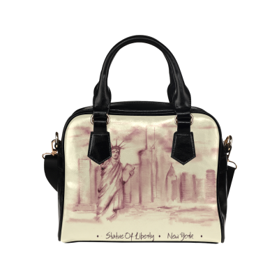 InterestPrint Hand-drawn the Statue of Liberty New York Cityscape Women's Shoulder Handbag/Tote Bag/Travel Bag