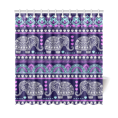 InterestPrint Ethnic Vintage Aztec African Elephant Home Decor,Bohemian Tribal Indian Mandala Polyester Fabric Shower Curtain Bathroom Sets