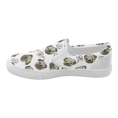 InterestPrint Cute Pug White Casual Slip-on Canvas Women's Fashion Sneakers Shoes