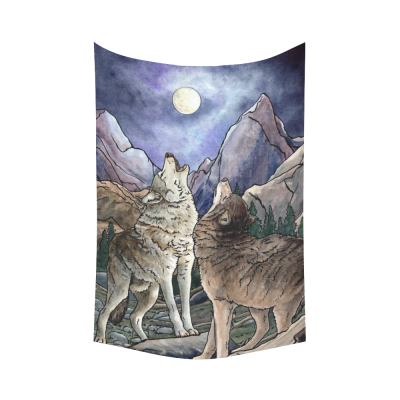 InterestPrint Animal Wall Art Home Decor, Wolves Howling at Moon Cotton Linen Tapestry Wall Hanging Art Sets