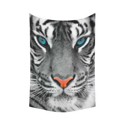 InterestPrint Animal Wall Art Home Decor, The Eyes of White Tiger King Cotton Linen Tapestry Wall Hanging Art Sets