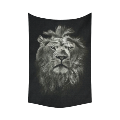 InterestPrint Wildlife Wall Art Home Decor, Black and White Watercolor Lion Cotton Linen Tapestry Wall Hanging Art Sets
