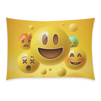 InterestPrint Custom Cute Yellow Smiley Emoji Emoticon Face Pillowcase Standard Size 20 x 30 Inches One Side - Yellow Smiley Emoticon Emojis Pillow Case Cover Set Pet Shams Decorative for Bedroom