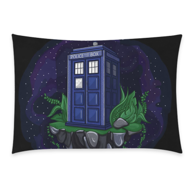 InterestPrint Dr. Doctor Who Tardis Pillowcase Standard Size 20 x 30 Inches One Side - Doctor Who Tardis Blue Police Public Call Box Fly Island in Space Pillow Case Cover Set Pet Shams Decorative